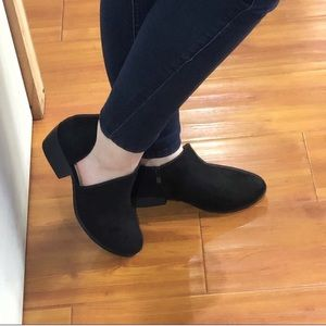 Black Side Cutout Ankle Booties